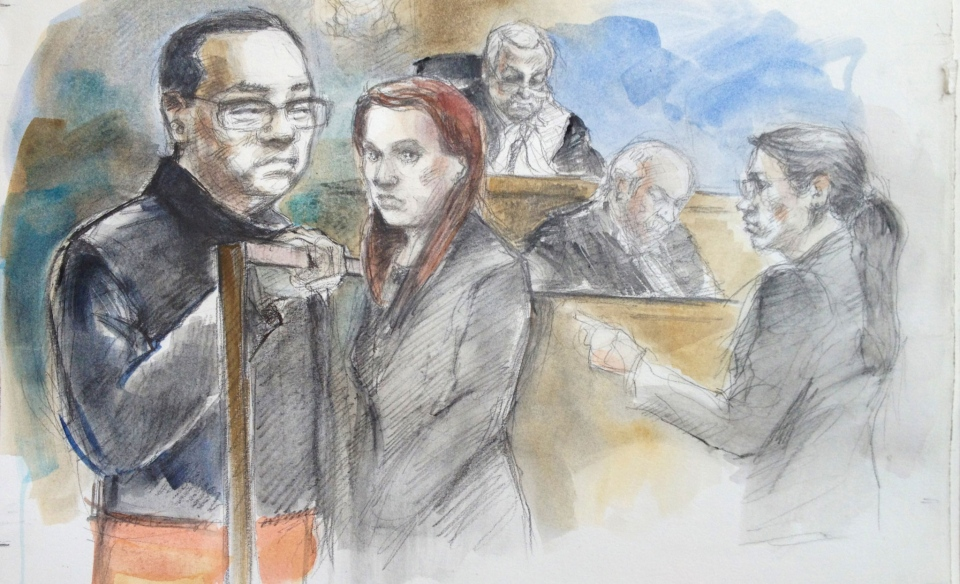 From left to right: Accused Chuang Li, duty counsel, Justice of the Peace Bill Fatsis, court staff and crown attorney Leslie Kaufman appear in court in Toronto, Ont. on Thursday, April 10, 2014. (Pam Davies)