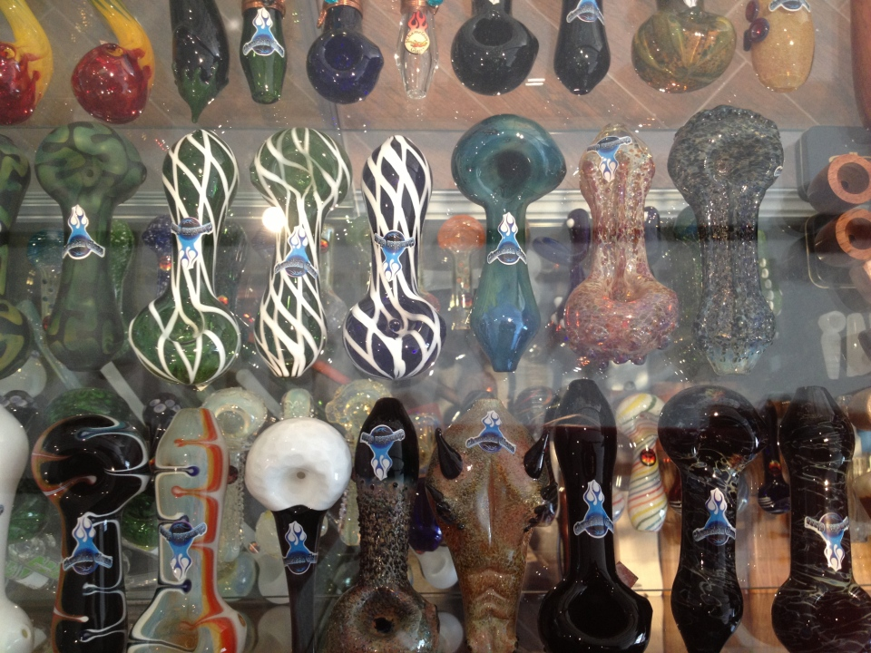 A display of pipes inside Culture Rising, a store and gallery specializing in cannabis culture that is part of Options Health Care, is seen in London, Ont. on Thursday, April 10, 2014. (Cristina Howorun / CTV London)