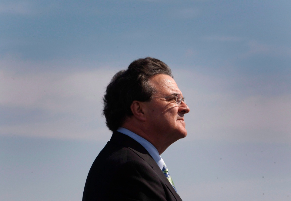 Federal Finance Minister Jim Flaherty speaks to reporters at the Port of Montreal, Sept. 27, 2010. (Ryan Remiorz / THE CANADIAN PRESS)