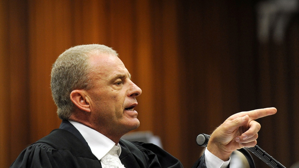 State prosecutor Gerrie Nel during cross questioning of Oscar Pistorius, in court in Pretoria, South Africa, Thursday, April 10, 2014. (AP / Werner Beukes)