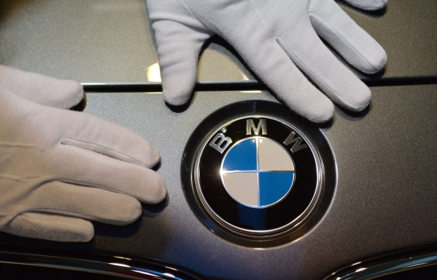 BMW logo is cleaned in Munich, Germany