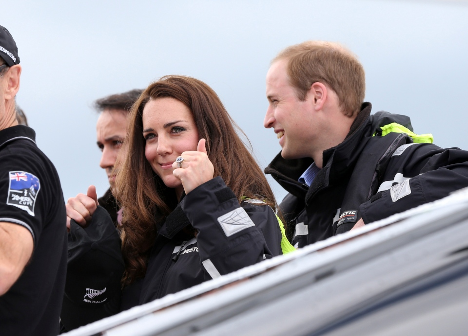 Prince William, right, and his wife, Kate, the Duchess of Cambridge, arrive at Viaduct Basin in Auckland, New Zealand, Friday, April 11, 2014, as they prepare to go sailing.  (AP / Fiona Goodall)