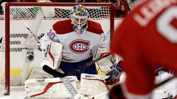 Montreal Canadiens goalie Peter Budaj in action