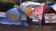 A tent city has sprung up at the Vancouver Art Gallery as part of Occupy Vancouver. Oct. 20, 2011. (CTV)