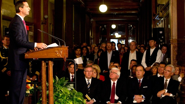 Ontario Premier Dalton McGuinty Speaks During The Swearing In Ceremony For  His Cabinet At The Ontario