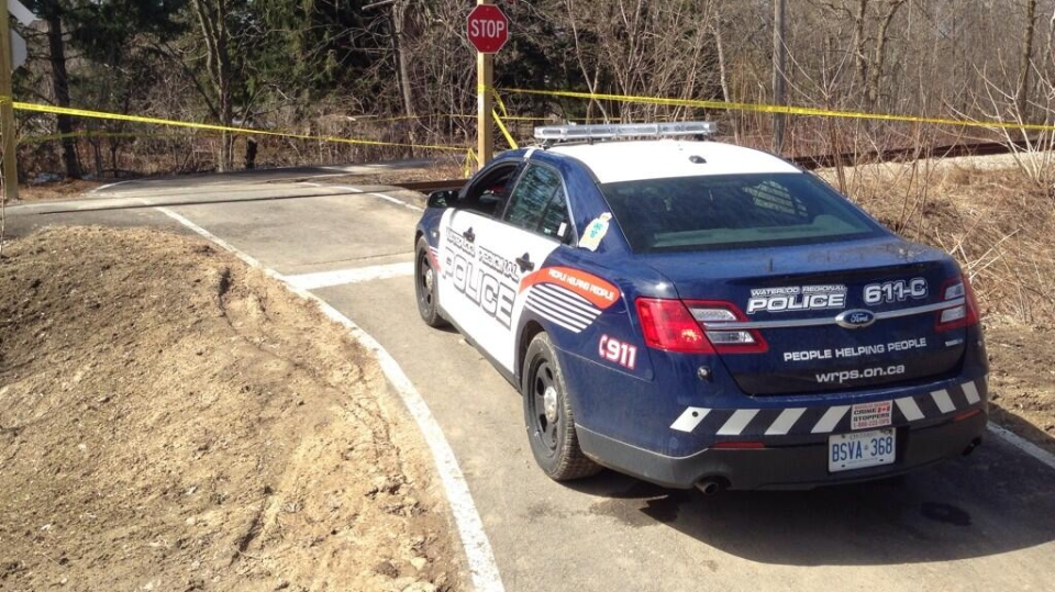 A police cruiser blocks off part of Victoria Park for a suspicious death investigation on Friday, April 11, 2014. (Dan Lauckner / CTV Kitchener)