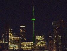 CN Tower lit up green tribute Jim Flaherty