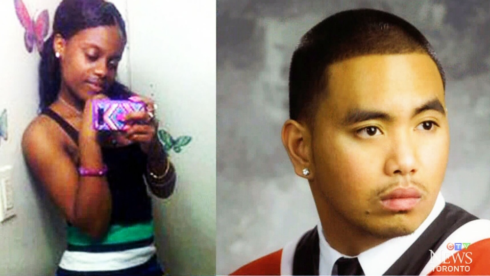 Shyanne Charles, left, Joshua Yasay, right, were killed in a shooting outside a community housing complex on Danzig Street in Toronto, Ont., July 2012.