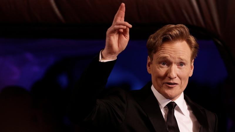 Talk show host Conan O'Brien arrives for the Breakthrough Prize in Life Sciences awards on Thursday, Dec. 12, 2013, in Moffett Field, Calif. (AP/Ben Margot)