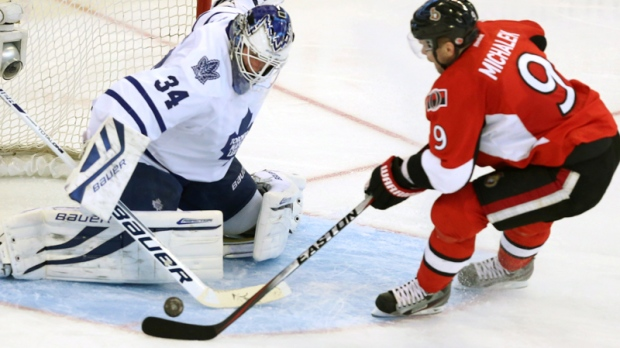 James Reimer stops Milan Michalek's shot