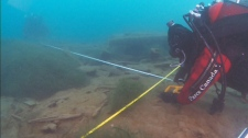 Parks Canada divers analyzed the wreck of the HMS Investigator in great detail, taking measurements from stem to stern, as well as underwater notes of their findings.
