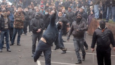 Pro-Russian mob storm police station in Ukraine