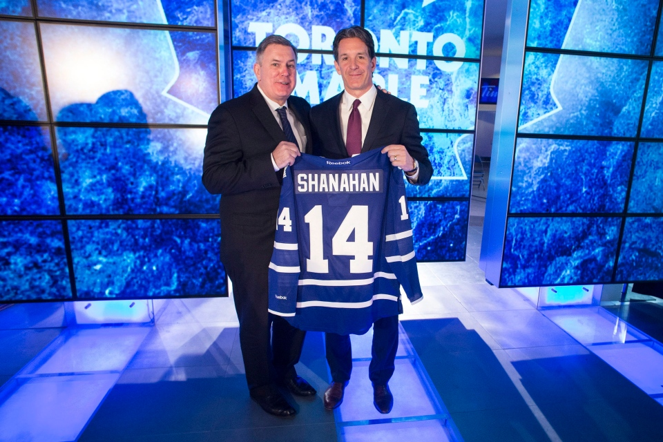 Tim Leiweke, CEO of MLSE, left, poses for a photo with new Toronto Maple Leafs President Brendan Shanahan following a news conference in Toronto on Monday, April 14, 2014. (Chris Young / THE CANADIAN PRESS)