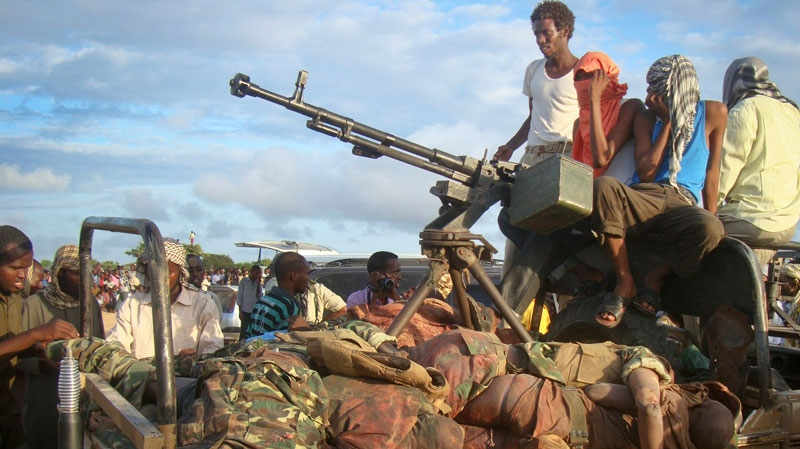 FILE - Somali militants are shown in this file photo.