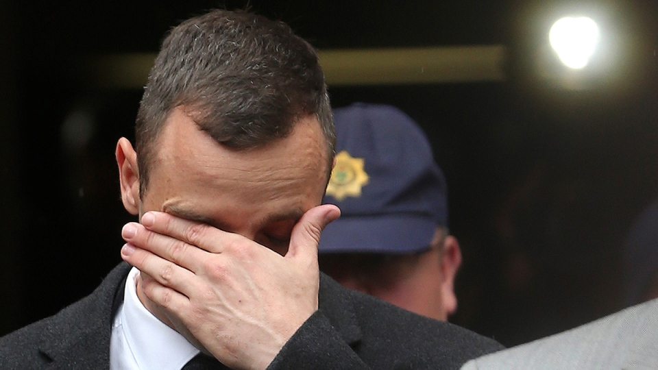 Oscar Pistorius leaves the high court in Pretoria, South Africa, Monday, April 14, 2014. (AP / Themba Hadebe)