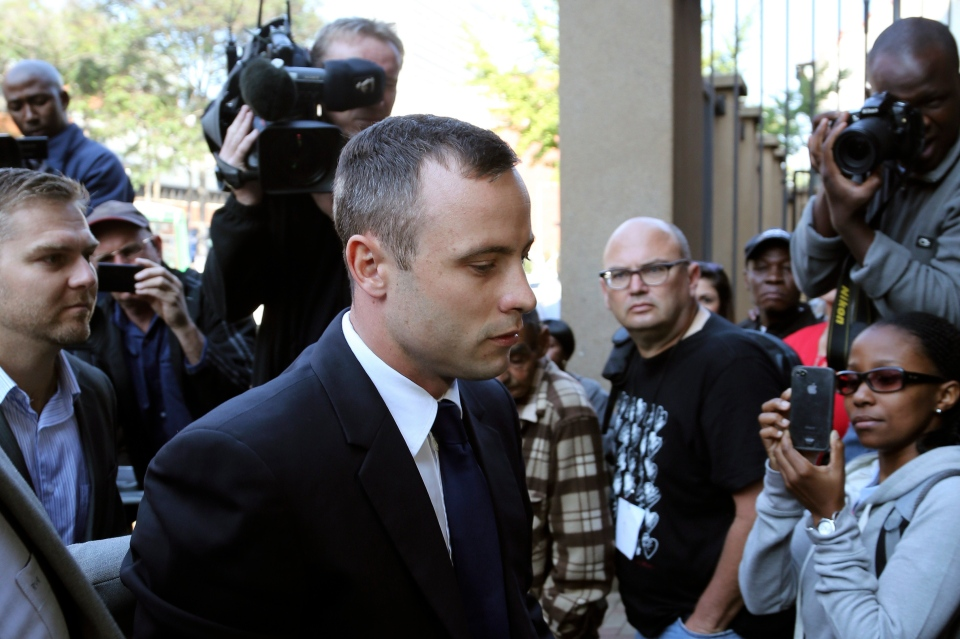Oscar Pistorius, arrives at the high court in Pretoria, South Africa, on Tuesday, April 15, 2014. (AP / Themba Hadebe)