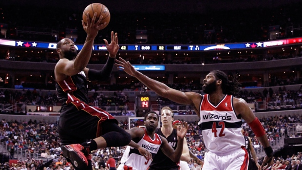 Miami Heat and Washington Wizards in action