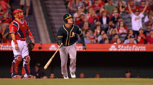 Oakland Athletics' John Jaso hits a two-run homer