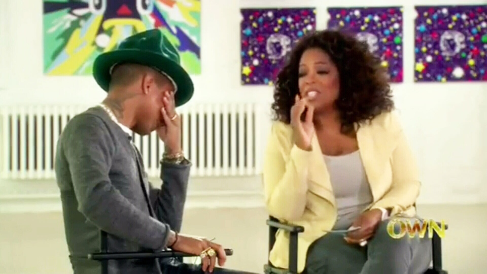 Pharrell Williams was reduced to tears after watching a compilation of fan-made videos during an interview with Oprah Winfrey.