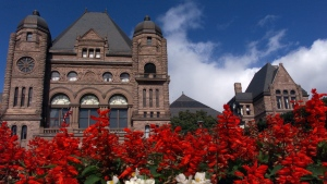 Ontario's Legislative Building sits on the historic grounds of Queen's Park in downtown Toronto.