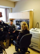 Omar El-Sherif, a diagnostic imaging researcher with the London Regional Cancer Program, left, speaks with CTV News in London, Ont. on Tuesday, April 15, 2014. (Breast Cancer Society of Canada / Twitter)