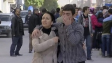 Residents take to the streets after a earthquake in Van eastern Turkey in this image taken from Sunday Oct. 23, 2011. (AP Photo/Anatolian TV. via APTN)