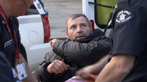 Michael St. Laurent, 45, is rescued after spending 10 days on Grouse Mountain. Oct. 23, 2011. (CTV)