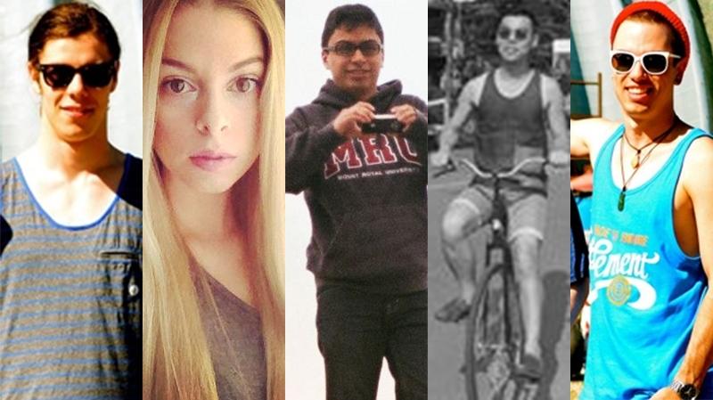 Calgary mass stabbing victims, from left: Zackariah Rathwell, Kaiti Perras, Jordan Segura, Lawrence Hong and Josh Hunter.