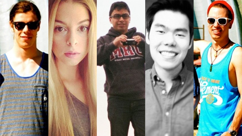 Calgary mass stabbing victims, from left: Zackariah Rathwell, Kaiti Perras, Jordan Segura, Lawrence Hong and Josh Hunter