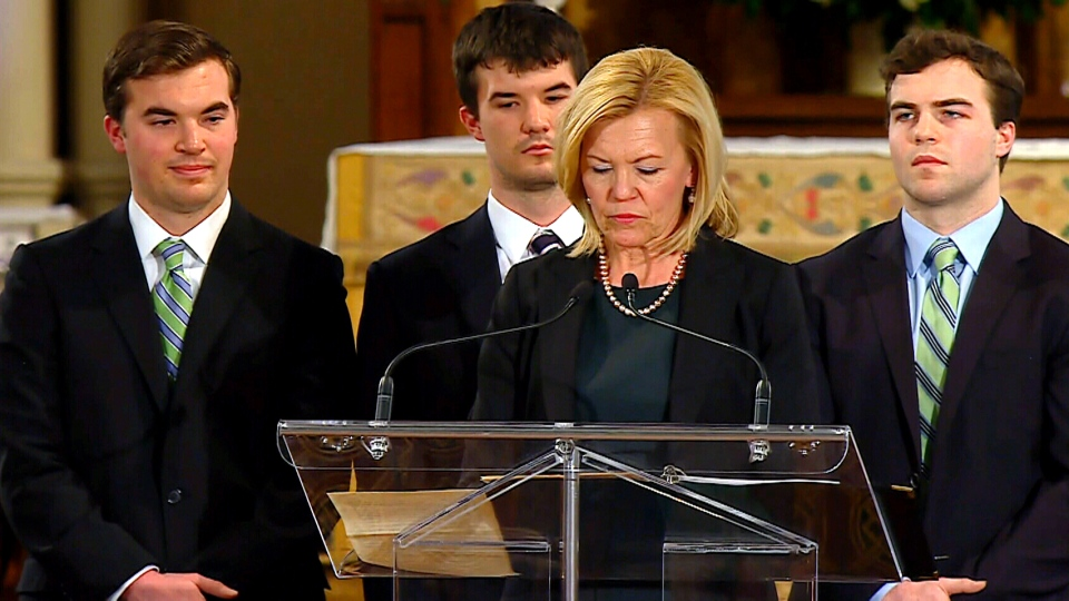 Christine Elliott, Jim Flaherty's wife, and their sons John, Galen and Quinn, at the state funeral at St. James Cathedral in Toronto, Wednesday, April 16, 2014.