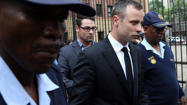 Oscar Pistorius leaves murder trial courtroom