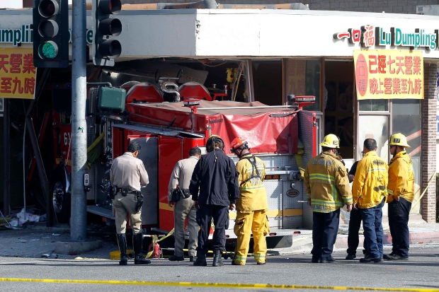 Fire truck slams in restaurant