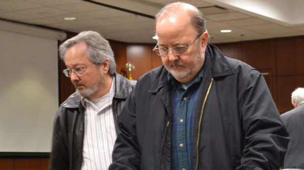 James Schook, right, in a Louisville, Ky., court