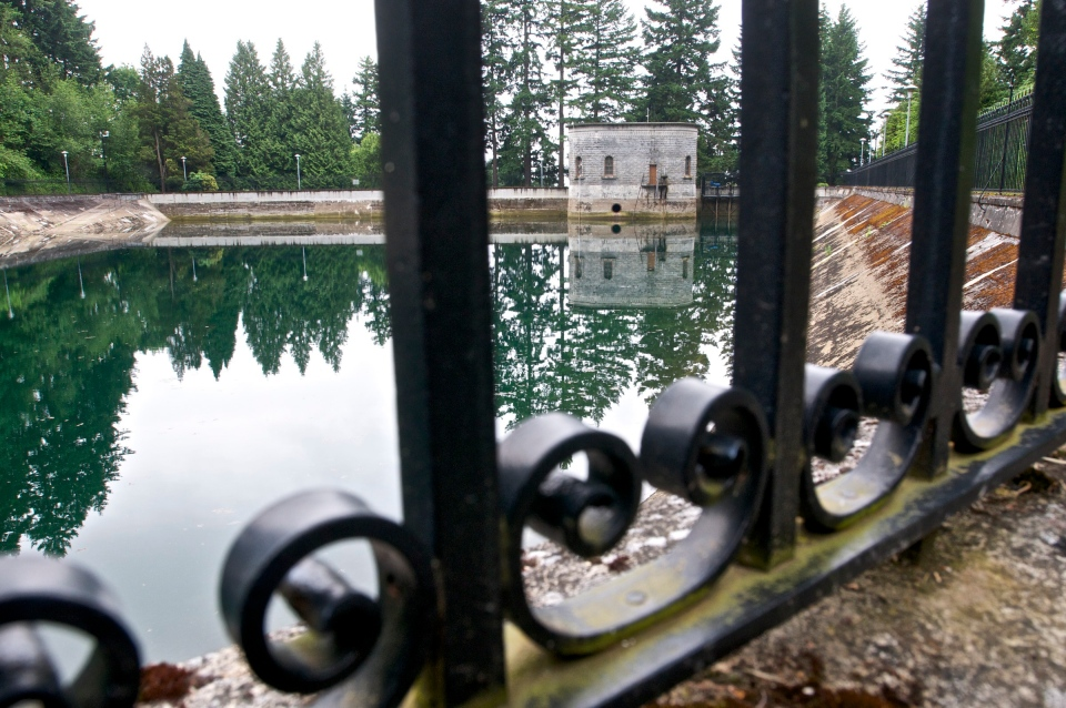 The Mount Tabor number 1 reservoir in Portland, Ore., is seen in a June 20, 2011 photo. (AP Photo/The Oregonian, Benjamin Brink)