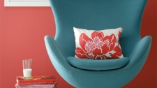 Benjamin Moore Paint's 'Rhubarb' adds a fashionable punch of fall colour to walls.