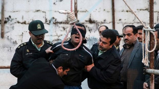 Blindfolded Iranian man