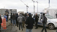 Police were at the MUHC superhospital construction site this morning, but no violence was reported (Oct. 25, 2011)