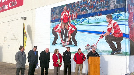 The City unveiled a mural in honour of Olympic gold medalists, Kevin Martin, John Morris, Marc Kennedy and Ben Herbert on Tuesday, October 25.