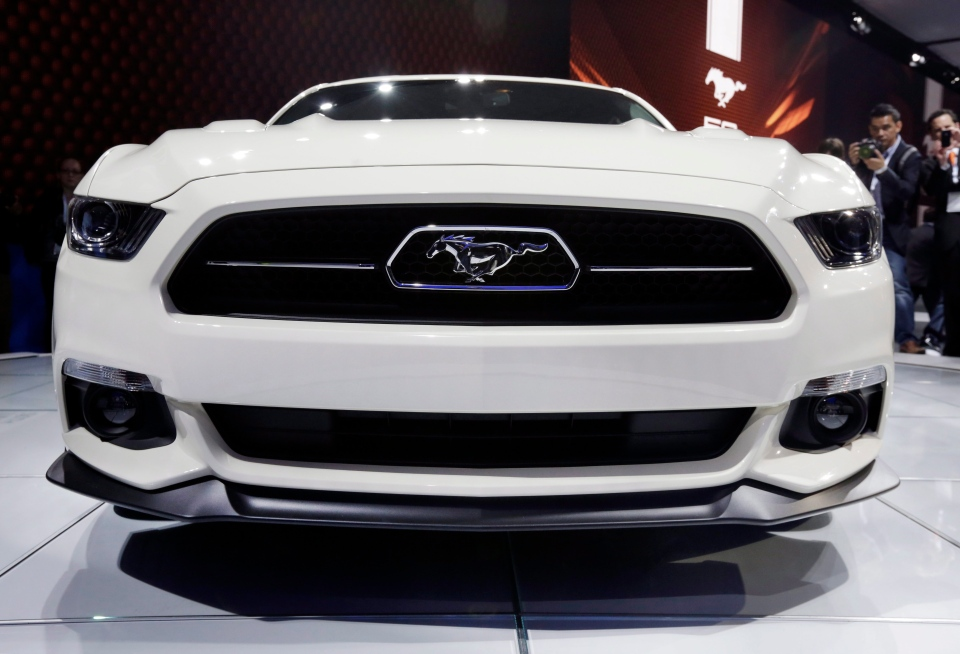 The front of the 2015 Ford Mustang 50 Year Limited Edition is seen as the car is introduced at the 2014 New York International Auto Show at the Javits Convention Center, Wednesday, April 16, 2014, in New York. (AP Photo/Richard Drew)