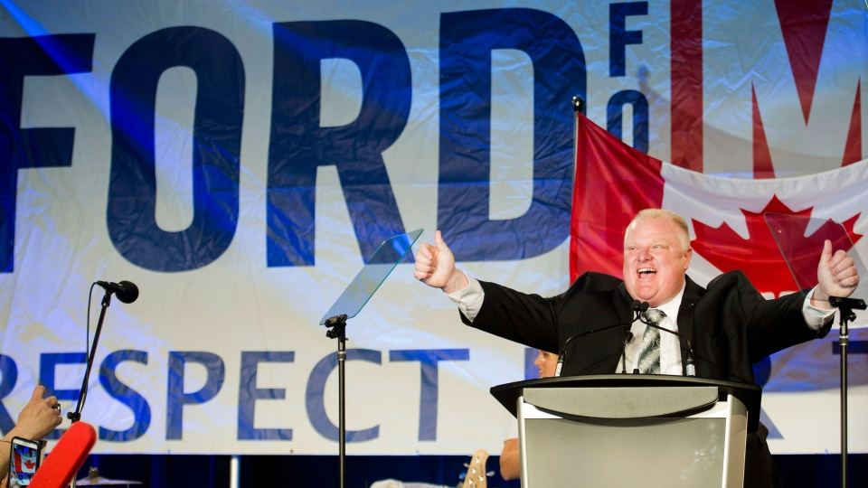 Toronto mayor Rob Ford reacts as he speaks to his supporters during his election campaign launch in Toronto on Thursday, April 17, 2014. (Nathan Denette / THE CANADIAN PRESS)