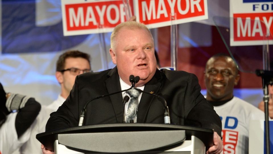 Toronto Mayor Rob Ford speaks to supporters during his election campaign launch in Toronto on Thursday, April 17, 2014. (Nathan Denette / THE CANADIAN PRESS)