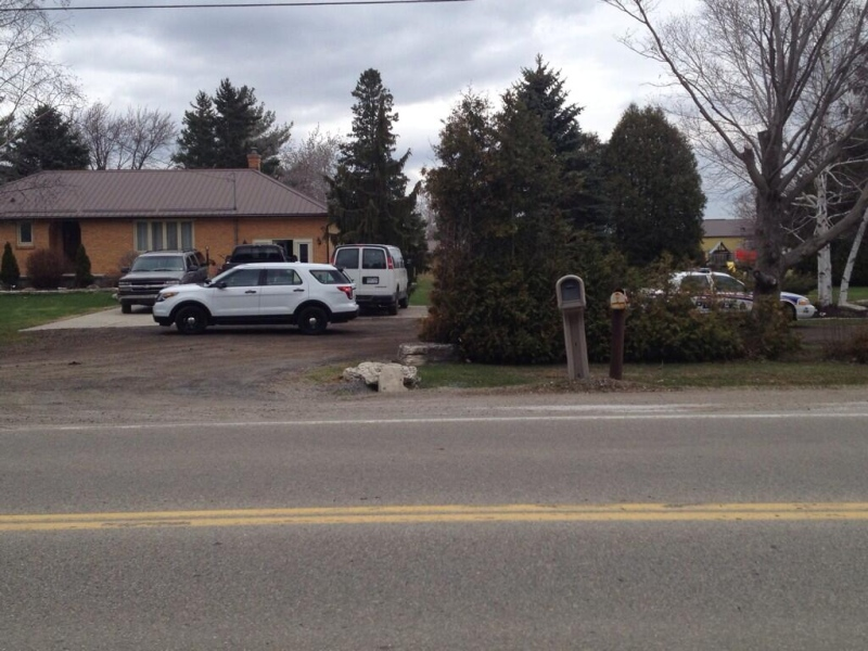 A child was pulled from pond at a Hamilton Road address on Friday, April 18, 2014. (Sean Irvine / CTV London)