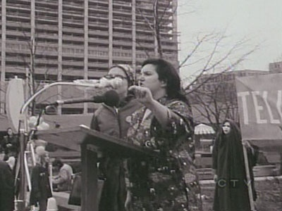 Maritime songstress Rita MacNeil is seen at a feminist rally during the 1970s.