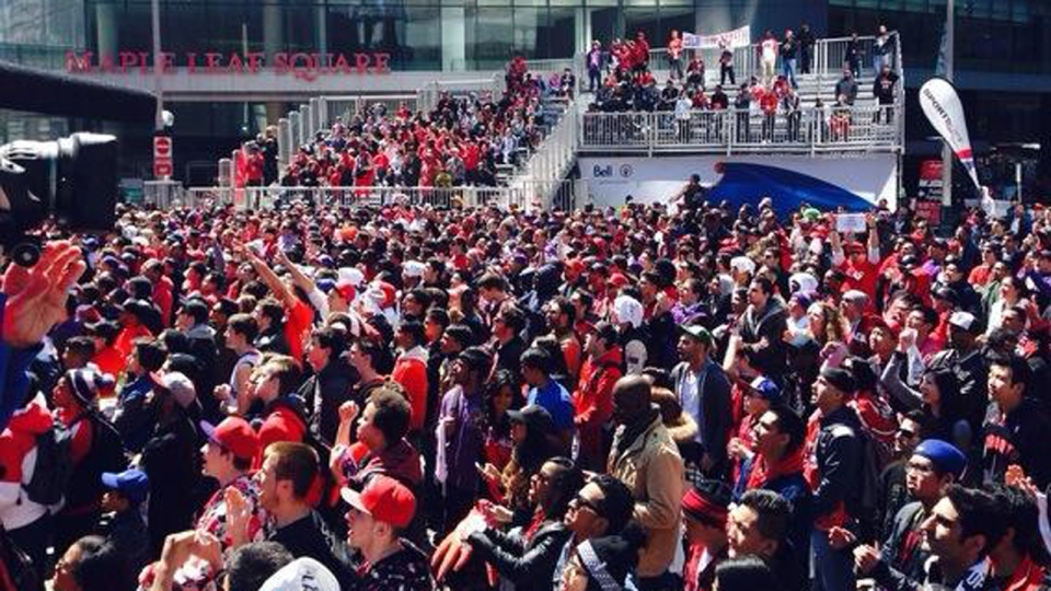 Raptors' GM looks to fire up fans, drops profanity in rally speech ahead of game against the ...