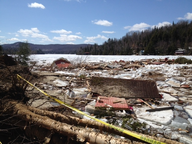 The clean-up has begun in Lac des Seize Iles after a section of ground gave way and caused a landslide. (CTV Montreal/Rob Lurie)