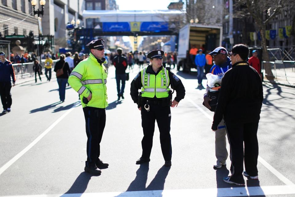 Police at Boston Marathon 2014 finish line