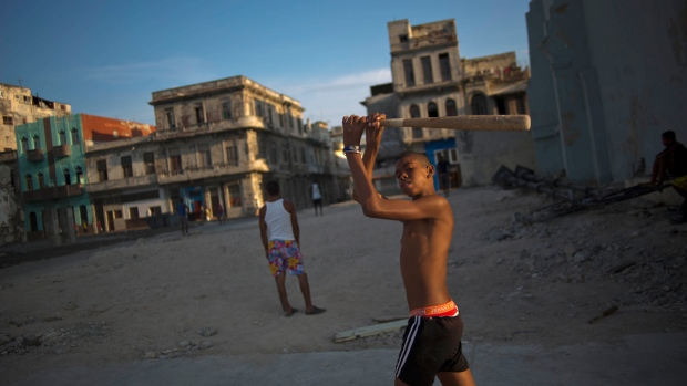 Youngsters playing in downtown Havana, Cuba