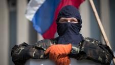 Outside a Ukraine gov't building in Luhansk