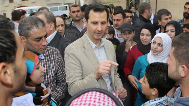 Syria's Bashar Assad in Ain al-Tineh village