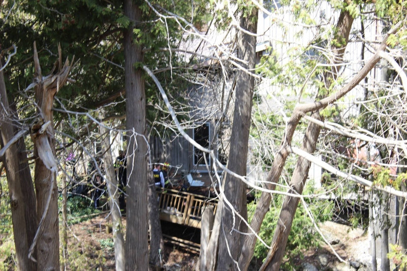 The deck that collapsed at the Benmiller Inn & Spa near Goderich, Ont. is seen on Sunday, April 20, 2014. (Courtesy Donald Jeffrey)